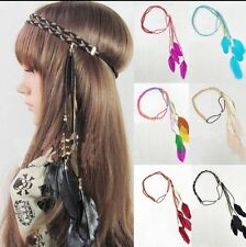 Nouveau feather leaf franges bandeau hairband multi boho hippie party festival plage