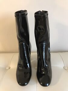 Christian Dior Black Stretch Patent Lucite Heel Crystal Boots Size US 7.5 EU 38