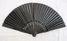 ANTIQUE VICTORIAN BLACK PAINTED WOOD &EMBOSSED PAPER MOURNING  FAN - c1890