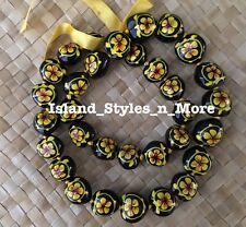 Hawaii Wedding YELLOW Kukui Nut Lei Graduation Luau  Necklace HIBISCUS TURTLE