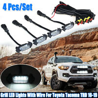 4x WHITE LED Grill Lights W//Wire Grille Indicator For Toyota Tacoma TRD 16-19 US