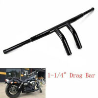 "Fat 1-1/4"" Black 8"" Rise Pullback T-Bars Handlebars Drag For Harley Motorcycle"
