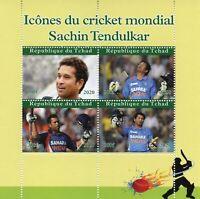 Chad Sports Stamps 2020 MNH Cricket Sachin Tendulkar Famous People 4v M/S
