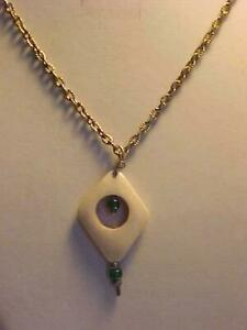 Carved Pendant Necklace Green Glass Beaded Etched Cable Chain Silver 24""