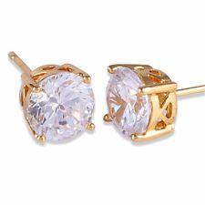 HUCHE 24K Yellow Gold Filled Sapphire Square Diamond Gem Women Earrings Studs