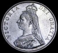 """Great Britain 1889 """"Arabic 1"""" Double Florin Silver Qn Victoria Re6e 50-556"""