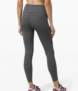 """Lululemon Leggings Fast And Free 7/8 Tight Nulux 24"""" (Graphite Grey)  RRP £118"""