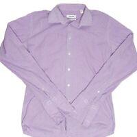 Calvin Klein Mens Purple Check Slim Fit Long Sleeve Button Up Shirt Size 41/92