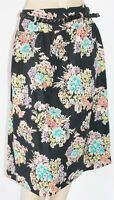 DOROTHY PERKINS UK Brand Black Floral with Belt Day Skirt Size 8 BNWT [SL20]