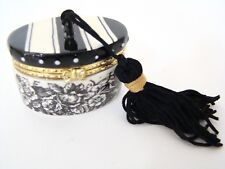 Mud Pie Porcelain Hinged Box - Black & White Toile Hatbox Treasure Box