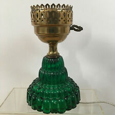 New ListingVintage Emerald Green Glass Tiered Art Deco Electric Lamp Base Works