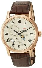Orient Men's Sun and Moon V3 Stainless Steel & Leather Automatic Watch FAK00001Y