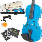 MENDINI SIZE 3/4 SOLIDWOOD VIOLIN METALLIC BLUE +TUNER+SHOULDERREST+BOW+CASE