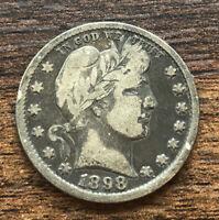 1898 Liberty Barber 90% Silver US Quarter - XF Toner - Great Eye Appeal