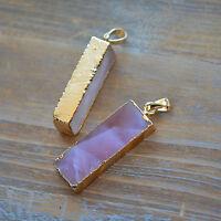 Rectangle Rose Quartz Pendant 24K Gold Plating Gemstone Jewelry