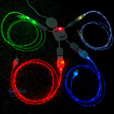 LED Visible Flow Light Micro USB Charger Data Sync Cable for Smartphones