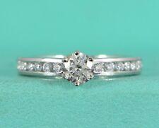Tiffany Co i VVS2 Platino 0.62ct Diamante Redondo Canal Anillo de Compromiso 4