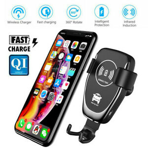 Fast Wireless Charger Car Holder For Samsung Galaxy S20 S10 S9 S8 Plus Note 9 10