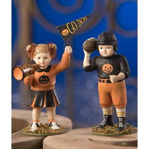 Set/2 Bethany Lowe Team Jacks Cheerleader Retro Vntg Halloween Figurine Decor