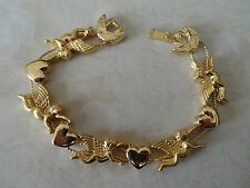 Vintage Gold Plated Angels & Hearts Slide Charm Bracelet 29.5 Gr. New Old Stock