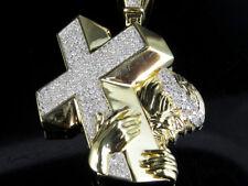 "Men's 10K Yellow Gold Jesus Cross Crucifix Real Diamond Pendant Charm 1.5CT 2.0"""