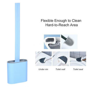 Silicone Toilet Bowl Cleaner Brush Flat Head Flexible Bristle with Holder BLUE