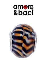 AMORE & BACI 925 sterling silver TIGER STRIPE LARGE MURANO charm bead