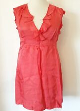 F&F Size 18 Coral Frill Front Crossover Bodice DRESS Summer Cute Girly Holiday