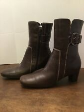 Ecco Brown Leather Zip Ankle Boots Womens Size 38 EUR Style 443752 7.5 US Buckle