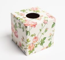 Pink Rose Tissue Box Cover wooden handmade decoupage in UK