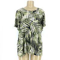 Croft & Barrow Women Classic Tee Shirt Sleeve Palm Leaf Plus Size 2X P020