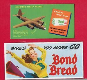 Vintage 1950s Ink Blotter - BOND BREAD - Lot of 2 ... B-26 & Cheerleader