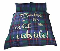 CHRISTMAS TARTAN CHECK BABY IT'S COLD BLUE GREEN RED DOUBLE DUVET COVER