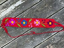 Baby Toddler Child Faja Mexican Belt Embroidered Woven Cotton Flowers Red X2