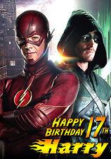 El Flash Y Flecha Barry Allen dc felicitación Personalizada Feliz Cumpleaños Tarjeta De Arte