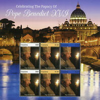 Guyana Popes Stamps 2015 MNH Celebrating Papacy of Pope Benedict XVI 6v M/S