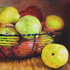 Original Painting Oil on Gessobord Still Life with Apples and Pears