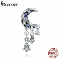 Bamoer S925 Sterling Silver Charms Moon and star Dangle With zircon For Bracelet