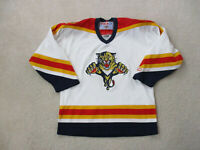 VINTAGE CCM Florida Panthers Hockey Jersey Youth Extra Large White SEWN Kids A3*