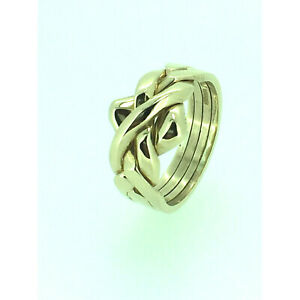 Puzzle Ring By Herron 9ct Gold Four Piece Yellow Gold Puzzle Ring Size (R-Z)