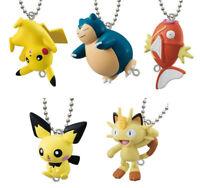 Set 5 pcs Bandai Pokemon Sun & Moon Linked 4 Keychain Figure Cabigon Pikachu