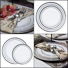 Disposable Plastic Plates Dinner &  Salad Combo Silver Trim Prestigious Elegant
