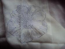 2 Gardinen Vorhänge Stickerei transparent weiß lavendel Schlaufen B/H 140 x 245