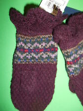RALPH LAUREN BABY GIRLS BOY MITTENS WOOL BLEND NORDIC ONE SIZE BURGUNDY $50