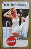 Embossed Tin Coca-Cola Hello Refreshment Sign -NEW