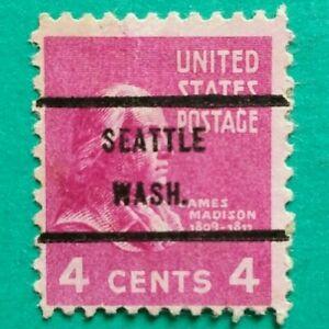 4 cent James Madison Issue, Precancel,Seattle Washington Stamp Used