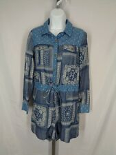 Honey Punch Shorts Romper Size Small Paisley Patchwork Long Sleeve New