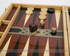 "Moroccan Wooden Handmade Large Backgammon Game Set, 17"" W"