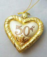 "Heart Anniversary Glass Ornament 50th Gold Gift 3"" Box Kurt Adler"
