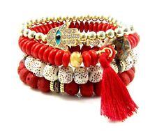 4 x Single Bracelet Set Layered Cuff Beaded Bracelets Boho Beads Wrist Wrap Red